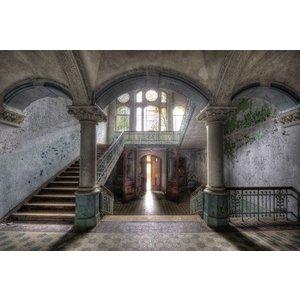Glasschilderij Oud trappenhuis 110x160cm.