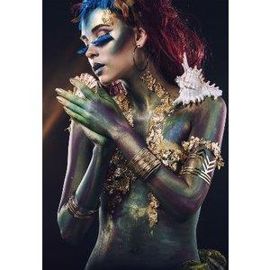 Glasschilderij Gekleurde vrouw 110x160cm.