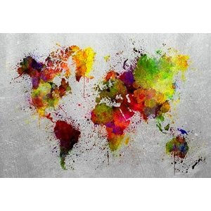 Glass painting Colored world map 110x160cm.