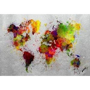 Glasschilderij Gekleurde wereldkaart 110x160cm.