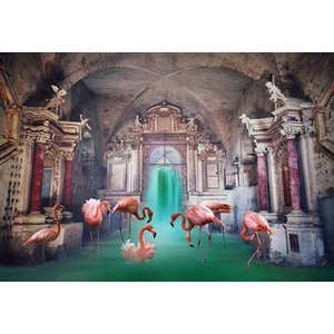 Glasschilderij Fantasie flamingo's 110x160cm.