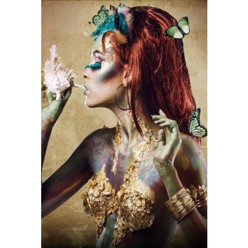 Glass painting Butterfly woman XXL 110x160cm.
