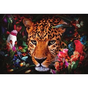 Glasschilderij Fantasie panther 110x160cm.