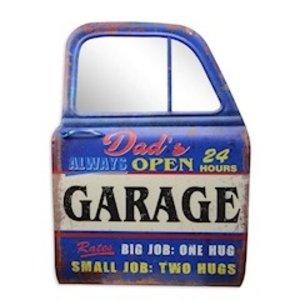 Muurdecoratie Autodeur met spiegel Dad's garage