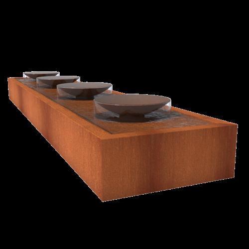 Adezz Producten Adezz Watertafel Cortenstaal Met Schalen 500x100x40cm