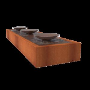 Adezz Producten Adezz Watertafel Cortenstaal Met Schalen 400x100x40cm