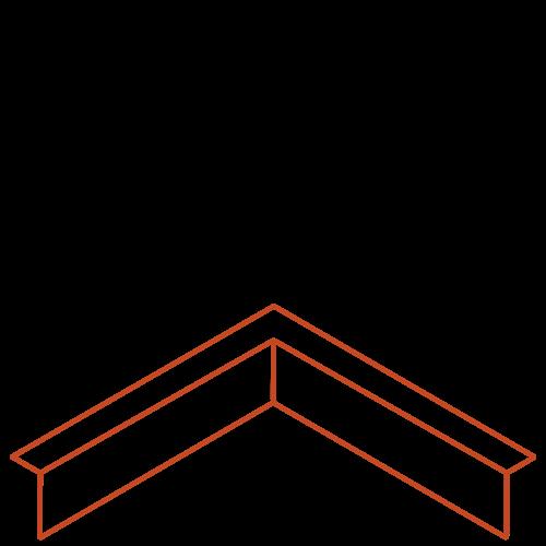 Adezz Producten Adezz Kantopsluiting Cortenstaal Hoek Gezet (Opgevouwen) 30x30x10cm