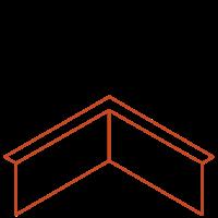 Adezz Kantopsluiting Cortenstaal Hoek Gezet (Opgevouwen) 30x30x20cm