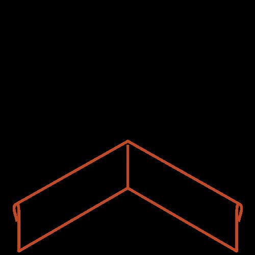 Adezz Producten Adezz Kantopsluiting Cortenstaal Hoek Geplet (Achter) 30x30x15cm