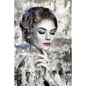 Glasschilderij Vrouw met lippenstift 80x120cm.