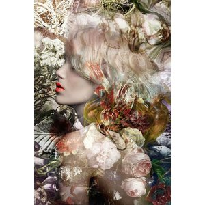 Glasschilderij Blonde dame 80x120cm.