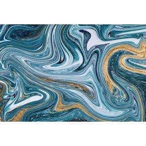 Glasschilderij Abstracte kunst blauw 80x120cm.
