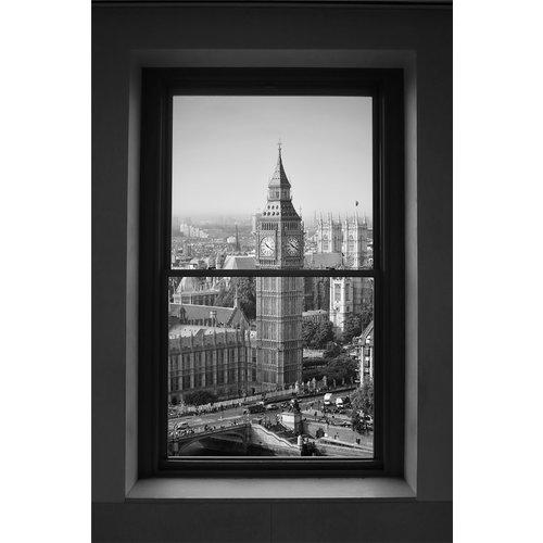 Glasschilderij Big Ben door het raam 80x120cm.