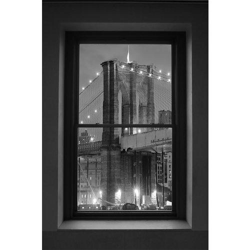 Glasschilderij Brug vanuit een raam 80x120cm.