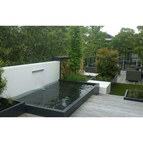 Adezz Producten Adezz Vijver Muren (Vast) (Incl. Waterfall 600 + VP3 Pump) Aluminium Rechthoek 200x25x60cm