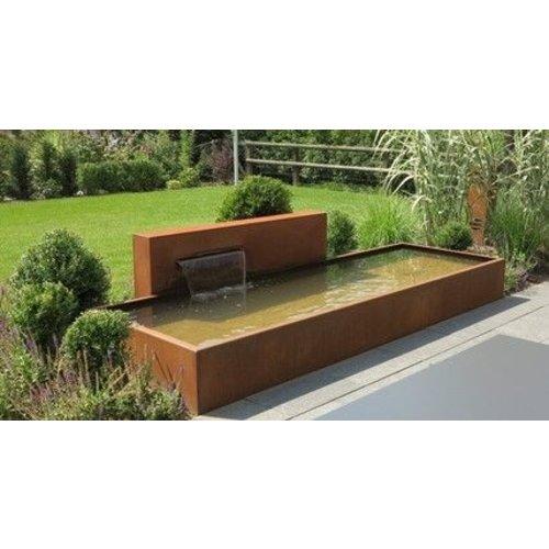 Adezz Producten Adezz Vijver Muren (Vrij) (Incl. Waterfall 600 + VP3 Pump) Cortenstaal Rechthoek 250x25x60cm