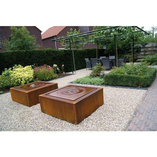 Adezz Producten Adezz Watertafel Cortenstaal Vierkant 100x100x40cm
