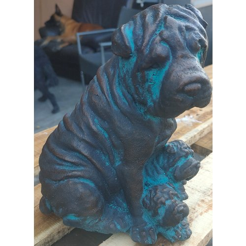 Hondje met pup 21cm bronskleur