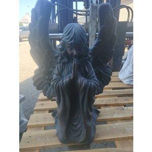 Engel beeld knielend en biddend 54cm bronskleur
