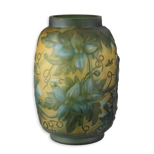 Cameo glasvaas Blauwe bloemen 29cm