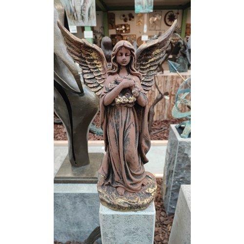 Engel met bloemenkrans 46cm Bruin/goud