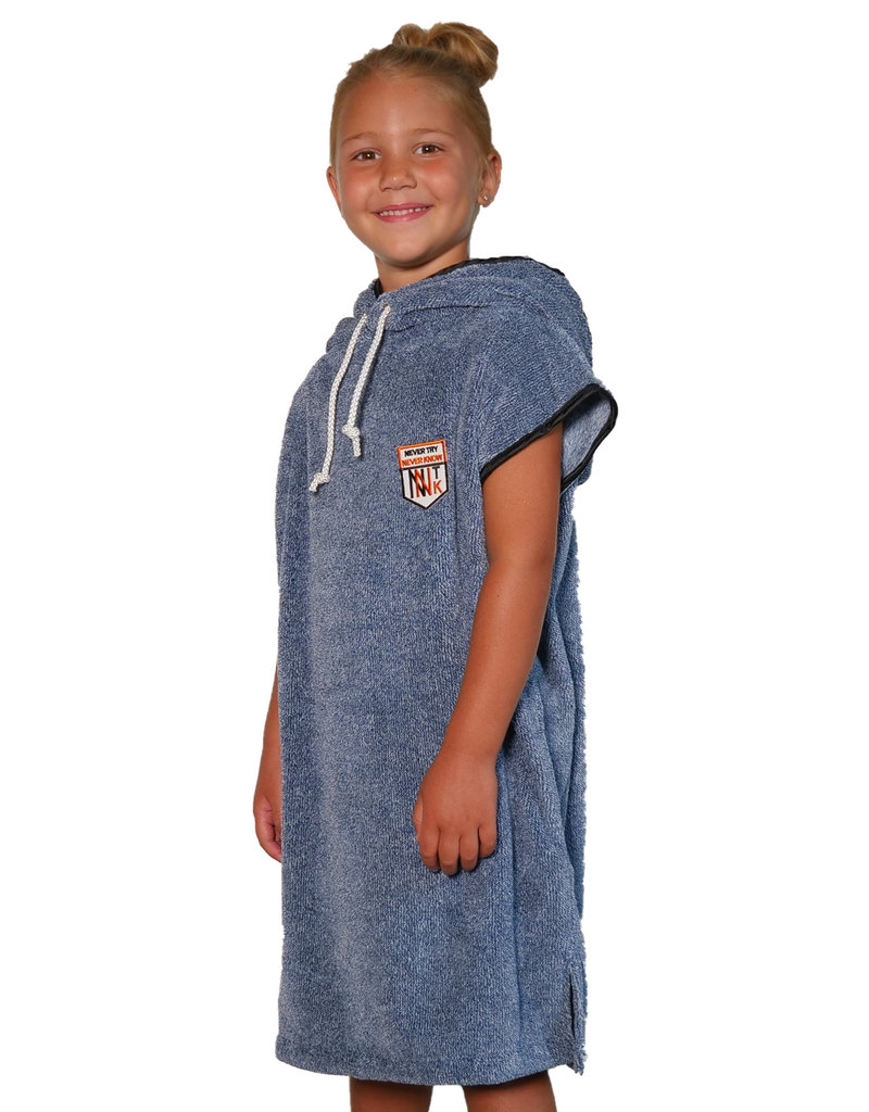 NTNK Fluffy Blue Kids Surf Poncho