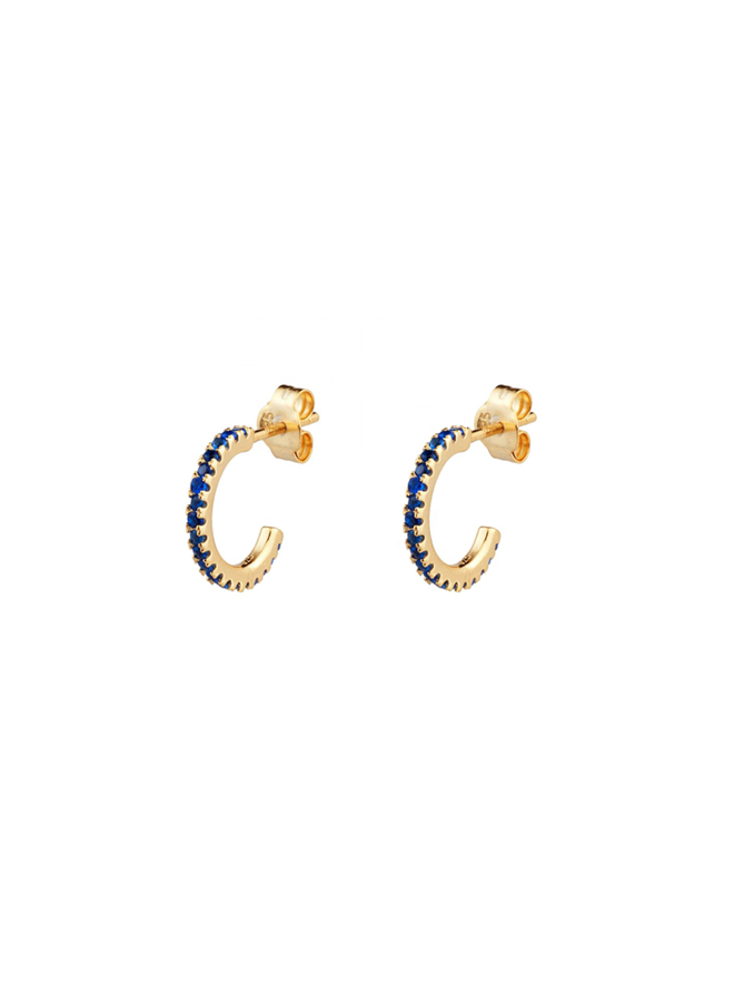 Odila Hoops - Blue  in gold plated sterling silver