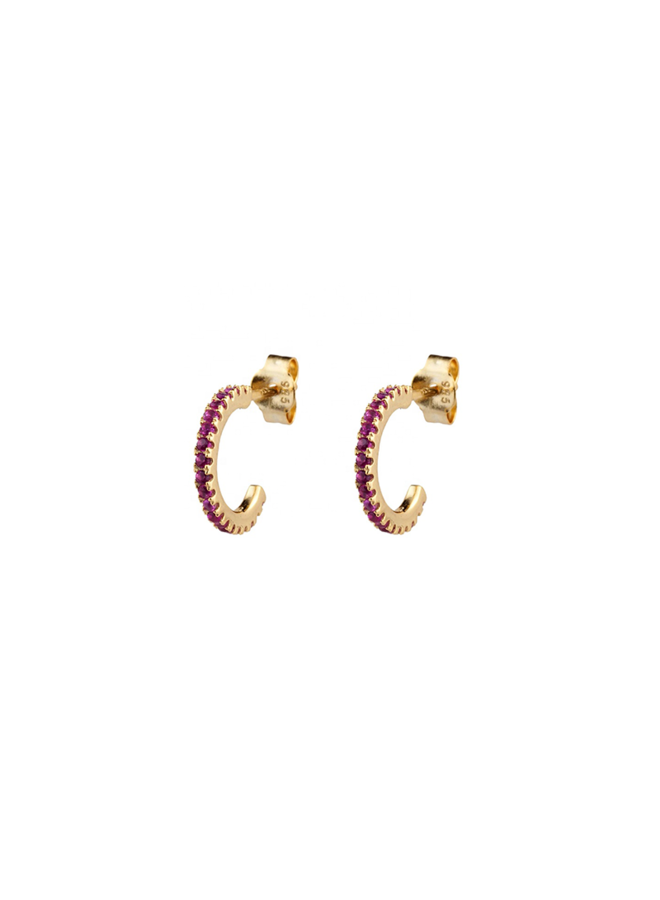Odila Hoops - Pink in gold plated sterling silver
