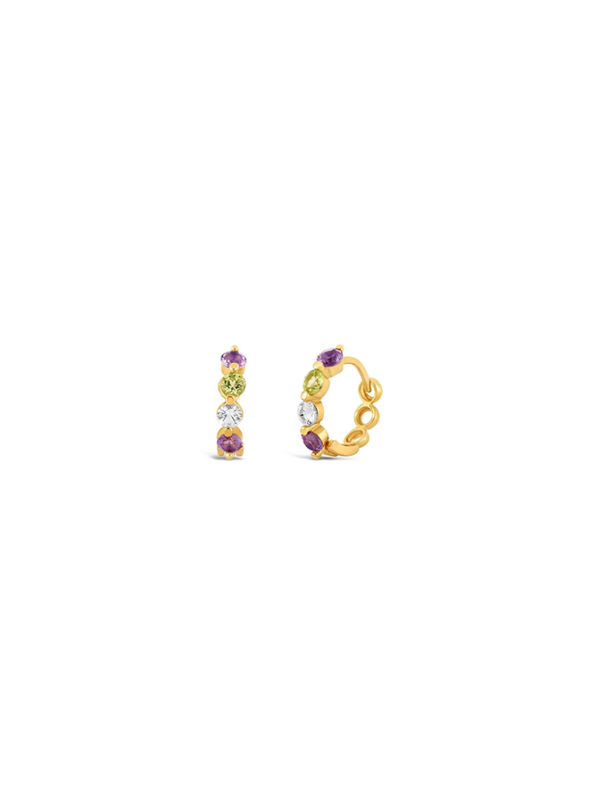 Rainbow hoops - Claire in gold plated sterling silver