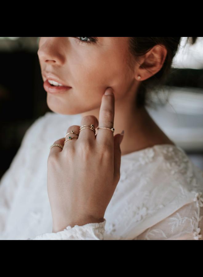 Vintage Hammered Ring Amethist