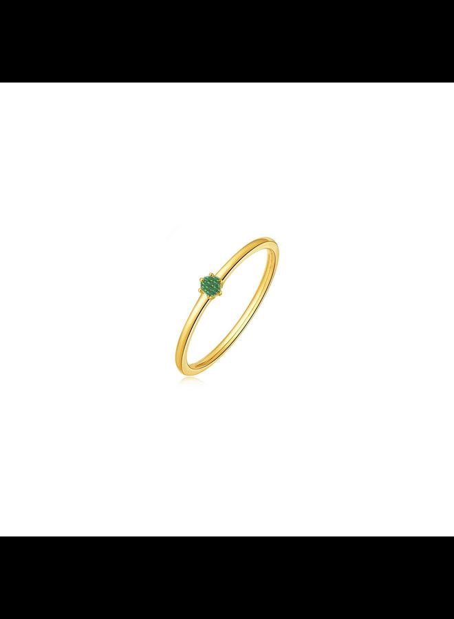 Vintage Hammered Ring Smaragd