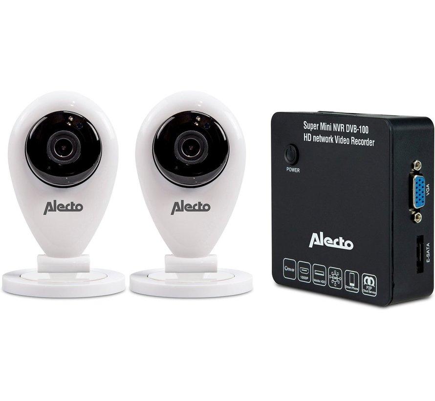 DVB-100 SET Netwerk Video Recorder met 2 wifi camera's - beelden opslaan en inzien via de app