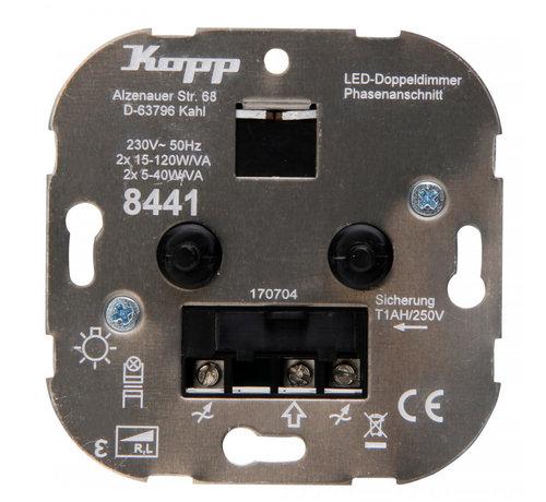 Kopp Kopp duo-dimmer 230V Led lampen 2x 5 - 40W
