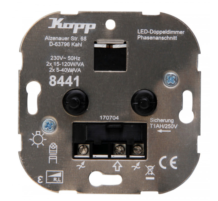 Kopp duo-dimmer 230V Led lampen 2x 5 - 40W