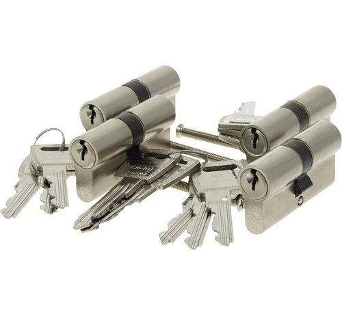 Nemef Nemef veiligheidscilinder 132/9 - Gelijksluitend - Met boorbelemmering - Anti Slagpick - Kerntrekbeveiliging - SKG*** - Met gevarenfunctie - Met 12 sleutels - 4 cilinders in verpakking