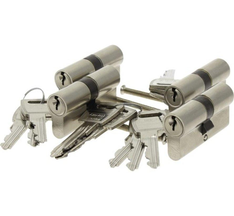 Nemef veiligheidscilinder 132/9 - Gelijksluitend - Met boorbelemmering - Anti Slagpick - Kerntrekbeveiliging - SKG*** - Met gevarenfunctie - Met 12 sleutels - 4 cilinders in verpakking