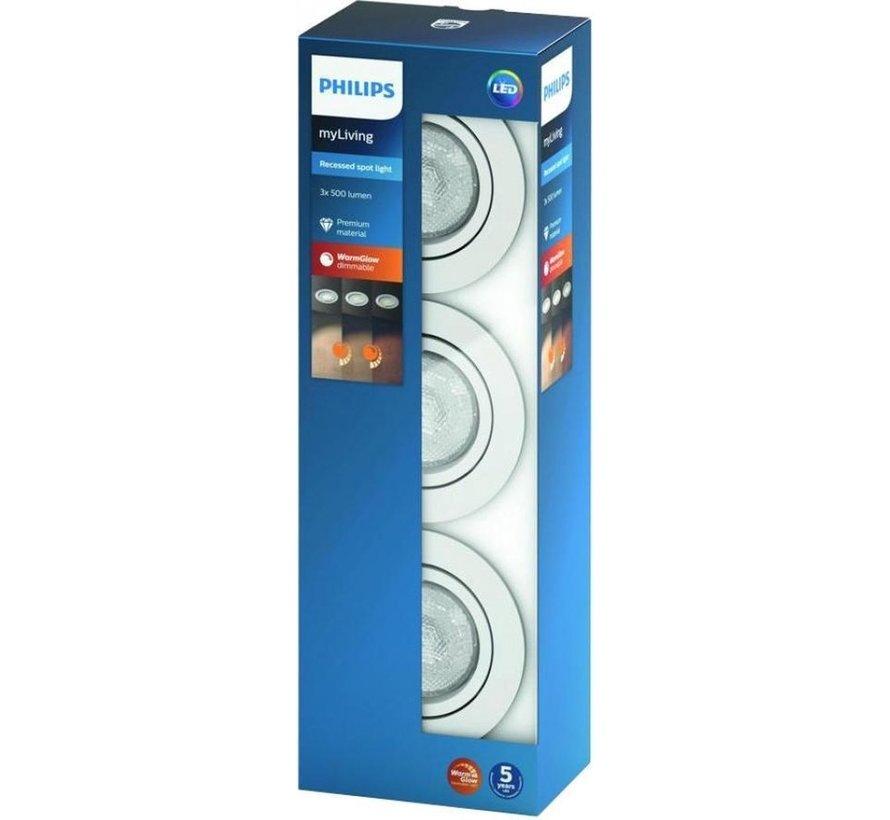Philips SHELLBARK WarmGlow Inbouwspot - Wit - 3 lichtpunten
