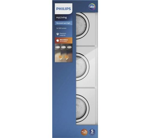 Philips Philips SHELLBARK recessed chrome 3x4.5W SELV