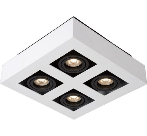 Lucide Lucide XIRAX Plafondspot - LED Dim to warm - GU10 - 4x5W 3000K/2200K - Wit