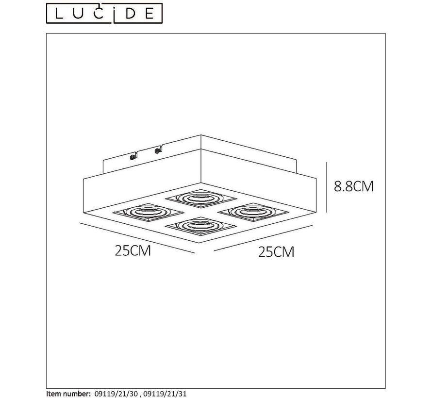 Lucide plafondlamp Xirax wit dimbaar 4x5W
