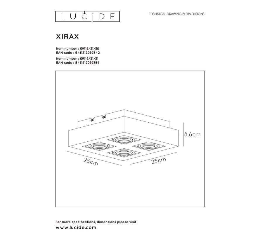 Lucide XIRAX Plafondspot - LED Dim to warm - GU10 - 4x5W 3000K/2200K - Zwart