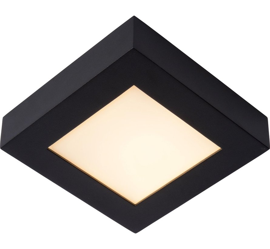 Lucide BRICE-LED - Plafonnière Badkamer - LED Dimb. - 1x15W 3000K - IP44 - Zwart