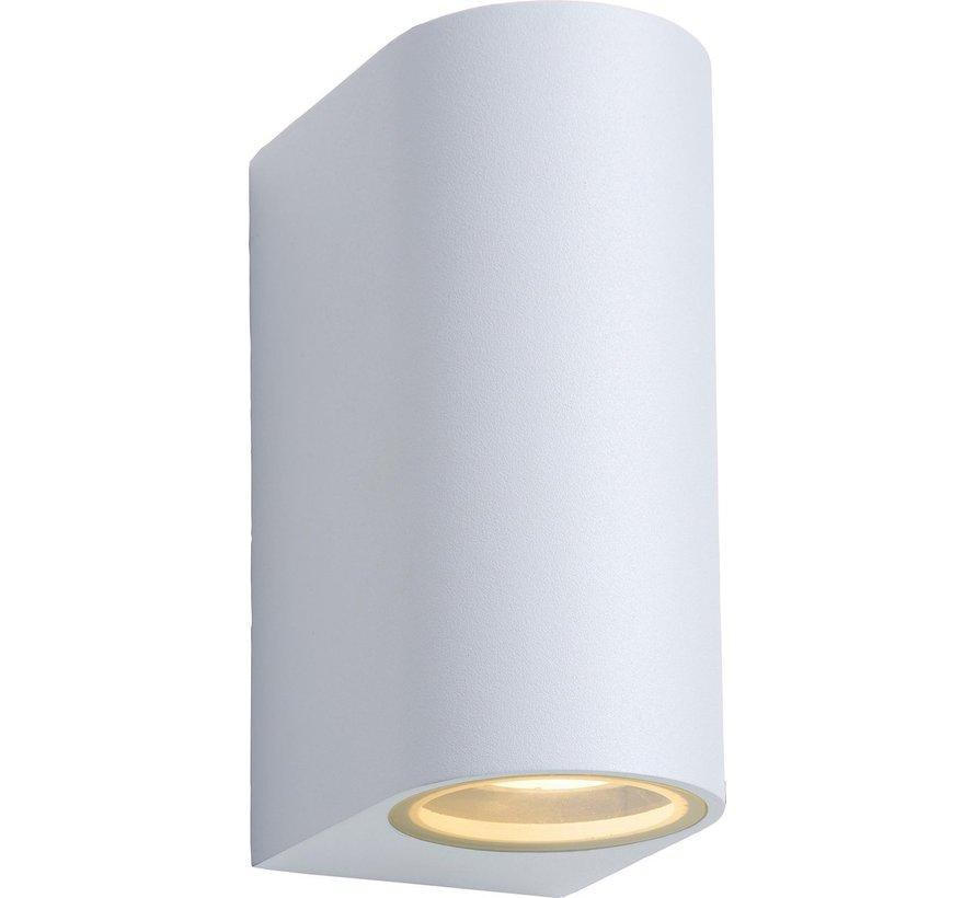 Lucide ZORA-LED Wandspot Buiten - LED Dimb. - GU10 - 2x5W 3000K - IP44 - Wit