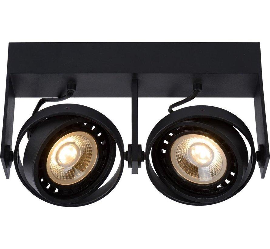 Lucide GRIFFON - Plafondspot - LED Dim to warm - GU10 - 2x12W 2200K/3000K - Zwart