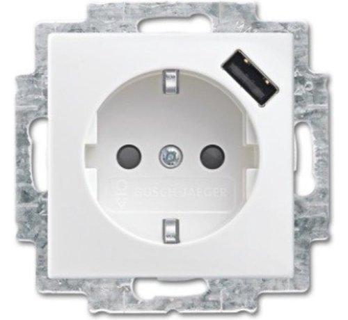 ABB Busch-Jaeger Busch-Jaeger Balance SI wandcontactdoos 1-voudig met randaarde en USB lader wit