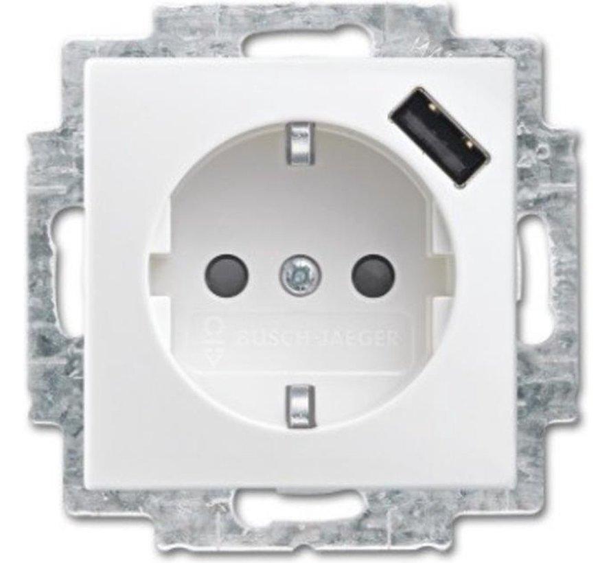 Busch-Jaeger Balance SI wandcontactdoos 1-voudig met randaarde en USB lader wit