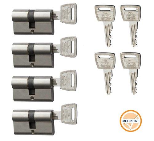 Nemef Nemef veiligheidscilinder 132/9P - Met boorbelemmering - Anti Slagpick - Kerntrekbeveiliging - SKG*** - Met gevarenfunctie - Met 8 sleutels - 4 cilinders in verpakking