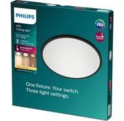 Philips Philips Superslim plafonnière - zwart - warm wit licht - klein 15W