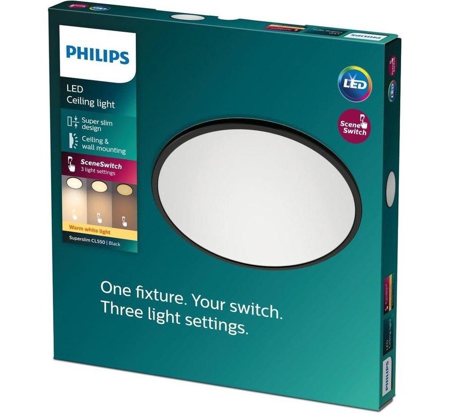 Philips Superslim plafonnière - zwart - warm wit licht - klein