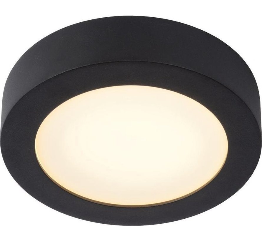 Lucide BRICE-LED Plafonnière Badkamer - Ø 18 cm - LED Dimb. - 1x11W 3000K - IP44 - Zwart